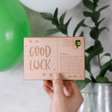 Personalised Good Luck Wooden Post Card
