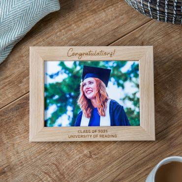 Congratulations Engraved Oak Graduation Photo Frame