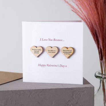 3 Reasons I Love You Wooden Hearts Keepsake Card