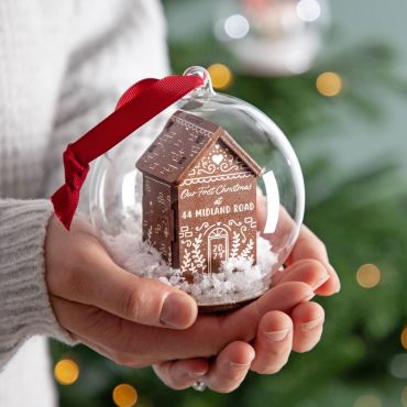 3D Wooden Gingerbread House Bauble