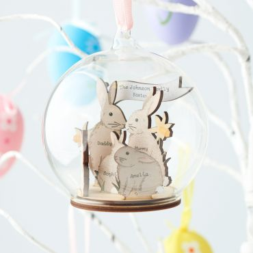 Personalised 3D Wooden Bunny Family Easter Bauble