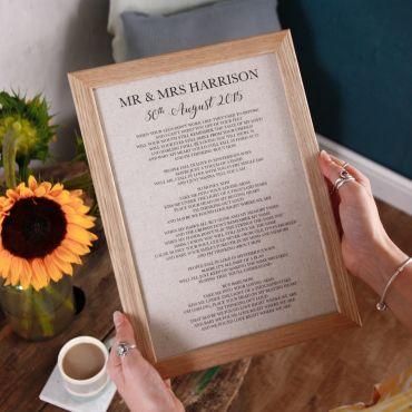 Linen Anniversary Lyrics/Vows Print