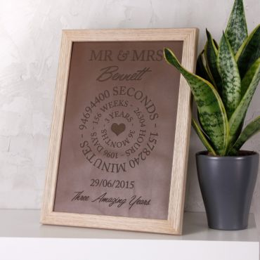 Leather Anniversary Engraved Time Print