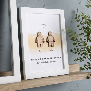 Wooden Character Couples Print