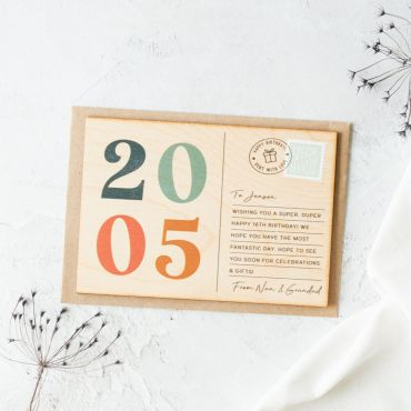Printed Wooden Big Birthday Postcard