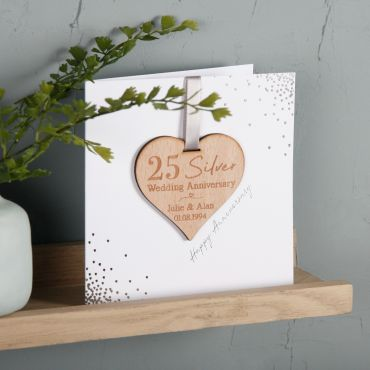 Foiled Anniversary Keepsake Heart Card