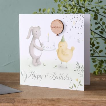 Bunny & Chick Birthday Card