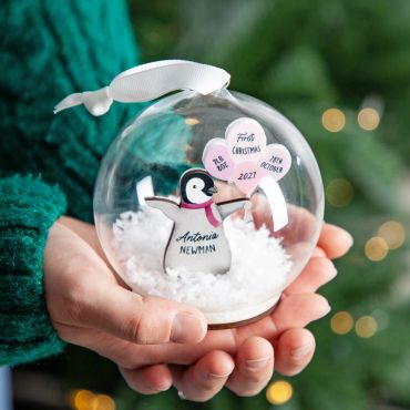 Penguin First Christmas Baby Details Bauble
