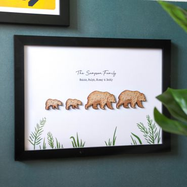 Wooden Bear Family 3d Framed Print