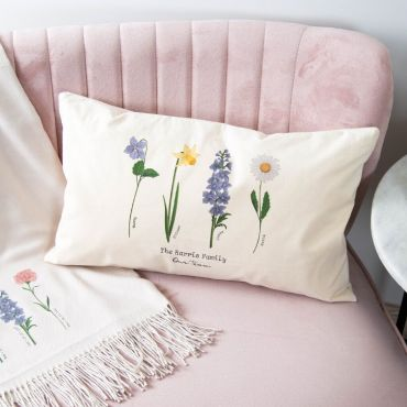 Family of Birth Flowers Oblong Cushion