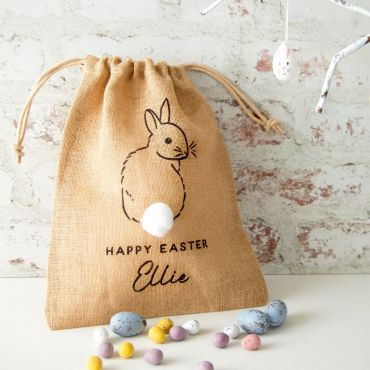 Bunny with Fluffy Tail Easter Treat Bag