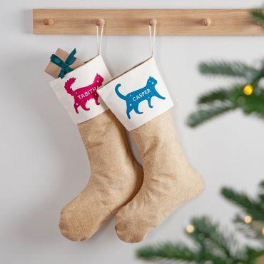 Cat Silhouette Pet Christmas Stocking