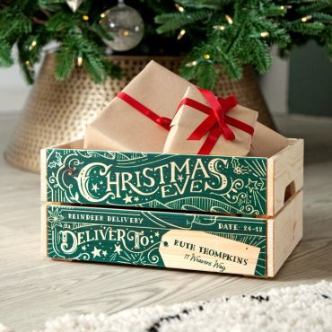 Vintage Stamp Christmas Eve Crate