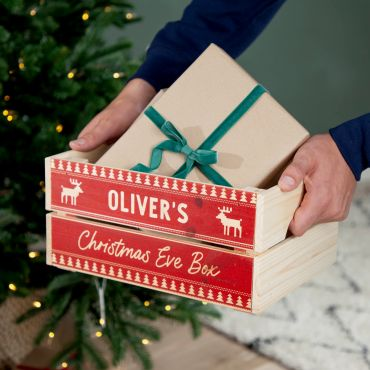 Red Festive Pattern Christmas Eve Crate