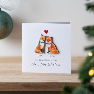 Wooden Fox Couple Christmas Keepsake Card
