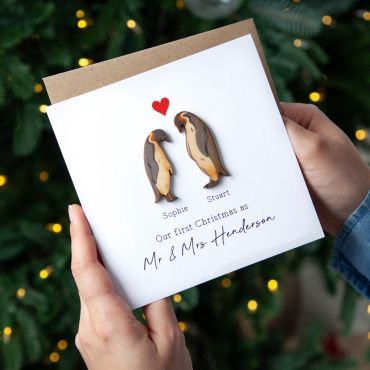 Wooden Penguin Couple Christmas Keepsake Card