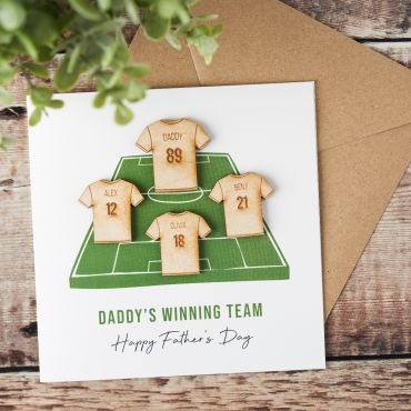 Wooden Family Football Shirts Keepsake Card