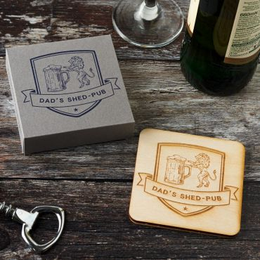 Set of 4 Personalised Wooden Lion Crest Coasters