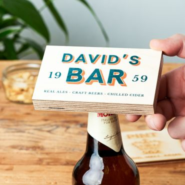 Personalised Wooden Bottle Opener Block