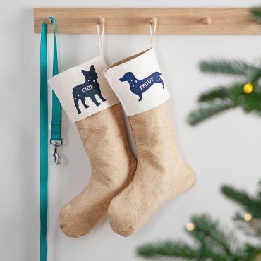 Dog Silhouette Pet Christmas Stocking