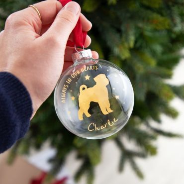Personalised Dog Silhouette Foiled Glass Bauble