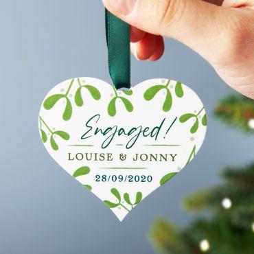 Mistletoe Engagement Heart Christmas Decoration