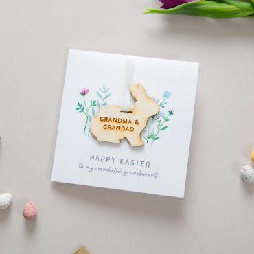 Engraved Wooden Easter Bunny Keepsake Card