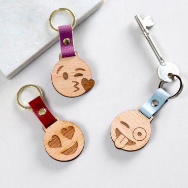 Engraved Wooden Emoji Keyring