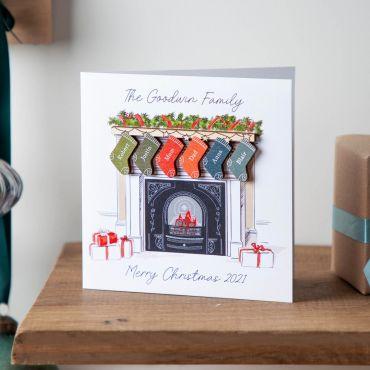Family Stockings on Fireplace Christmas Keepsake Card