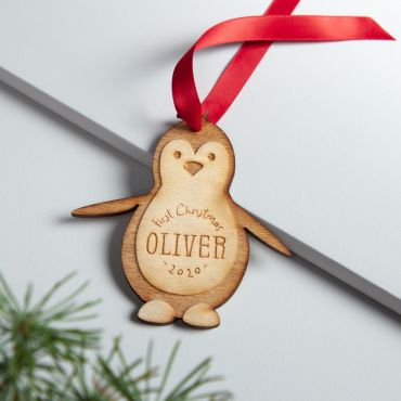 Personalised First Christmas Wooden Penguin Decoration