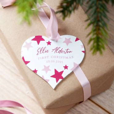 1st Christmas Stars Heart Shaped Decoration