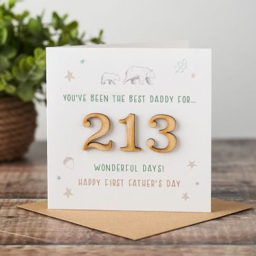 Wooden Numbers First Father's Day Time Card
