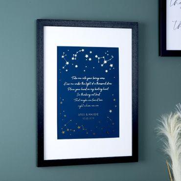 Foiled Lyrics Constellation Print