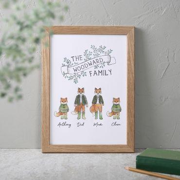 Illustrated Fox Family Print