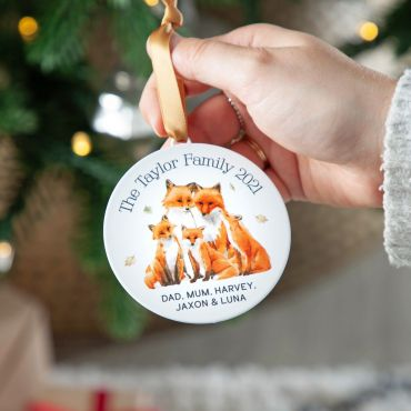 Family of Foxes Metal Hanging Decoration