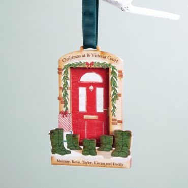 Front Door & Wellies Personalised Hanging Decoration