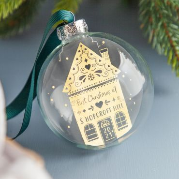 Gingerbread House New Home Foiled Glass Bauble