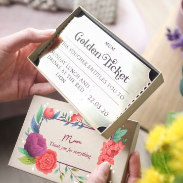 Floral Golden Ticket With Gift Box