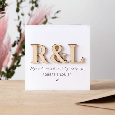 Heart Wooden Initials Keepsake Card