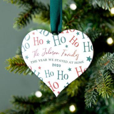 Ho Ho Ho Hanging Heart Christmas Decoration
