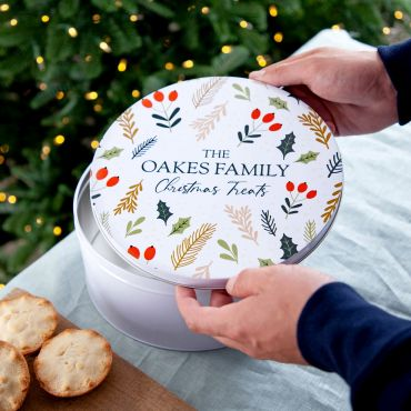 Holly & Berries Pattern Christmas Cake Tin