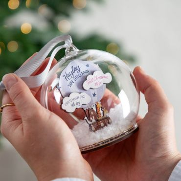 Hot Air Balloon First Christmas Baby Details Bauble