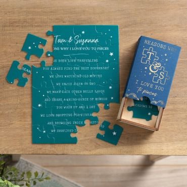 Foiled I love you to pieces jigsaw puzzle box