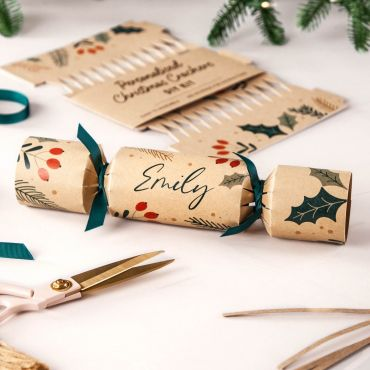 Holly & Berries Print on Kraft Christmas Crackers