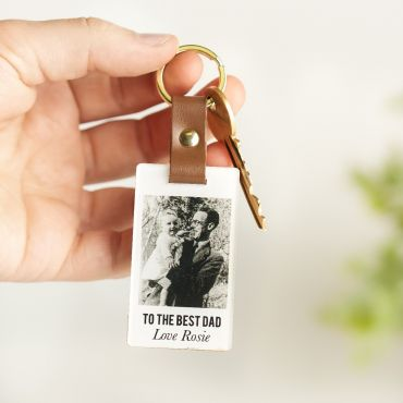 'Neutrals' Leather Photo Memory Keyring