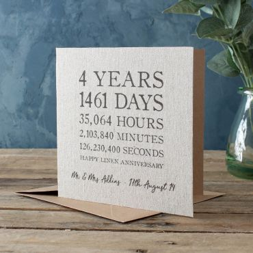 Linen Time Card (4th Anniversary)