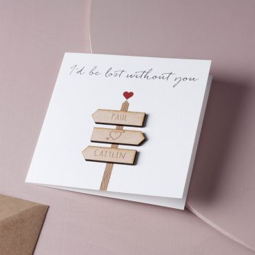'I'd Be Lost Without You' Personalised Sign Post Valentines Card