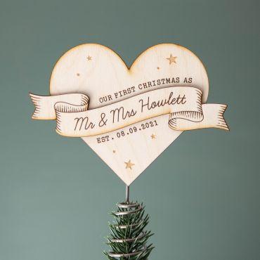 Couple's Heart Christmas Tree Topper