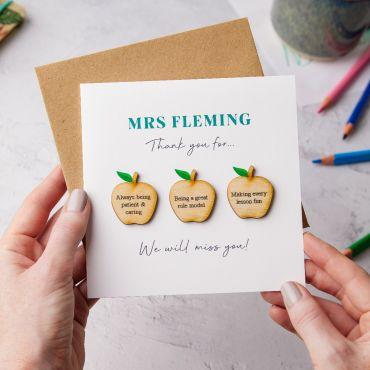Thank You Teacher Wooden Apples Keepsake Card