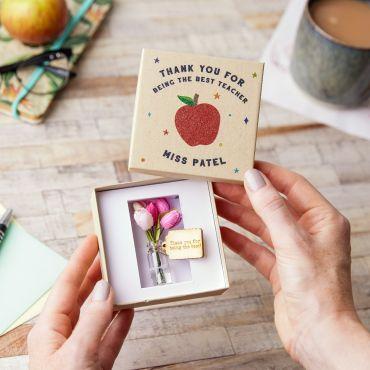 Thank You Teacher Flower Box - Apple Lid Design